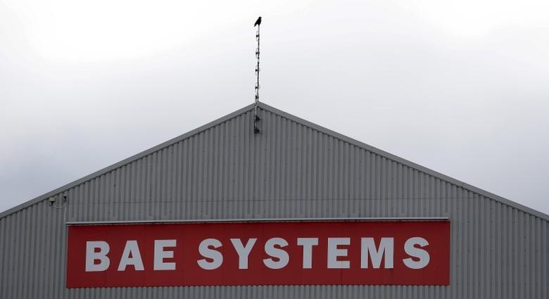 A sign adorns a hangar at the BAE Systems facility at Salmesbury, near Preston, northern England March 10, 2016.  REUTERS/Phil Noble