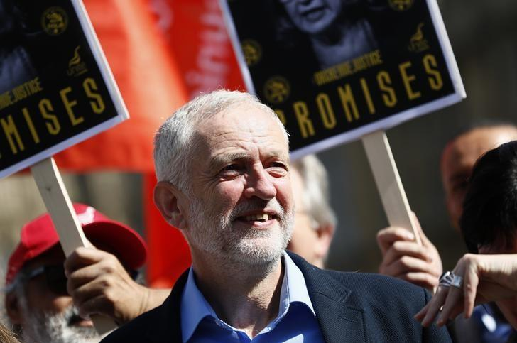 Jeremy Corbyn, the leader of Britain's opposition Labour Party joins a protest by campaigners calling for an inquiry into a confrontation between police and pickets in Orgreave in 1984, outside Parliament, in London September 13, 2016.  REUTERS/Stefan Wermuth
