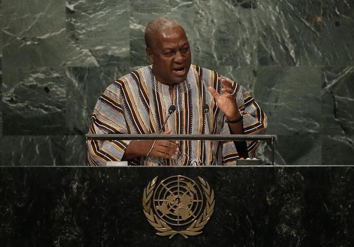 President John Dramani Mahama of Ghana addresses the United Nations General Assembly in the Manhattan borough of New York, U.S., September 21, 2016.  REUTERS/Mike Segar