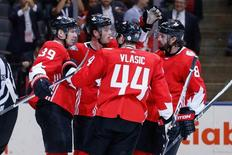 Sep 21, 2016; Toronto, Ontario, Canada; Team Canada center Logan Couture (39) celebrates his third period goal against Team Europe with teammates during preliminary round play in the 2016 World Cup of Hockey at Air Canada Centre. Team Canada won 4-1.  Mandatory Credit: Kevin Sousa-USA TODAY Sports
