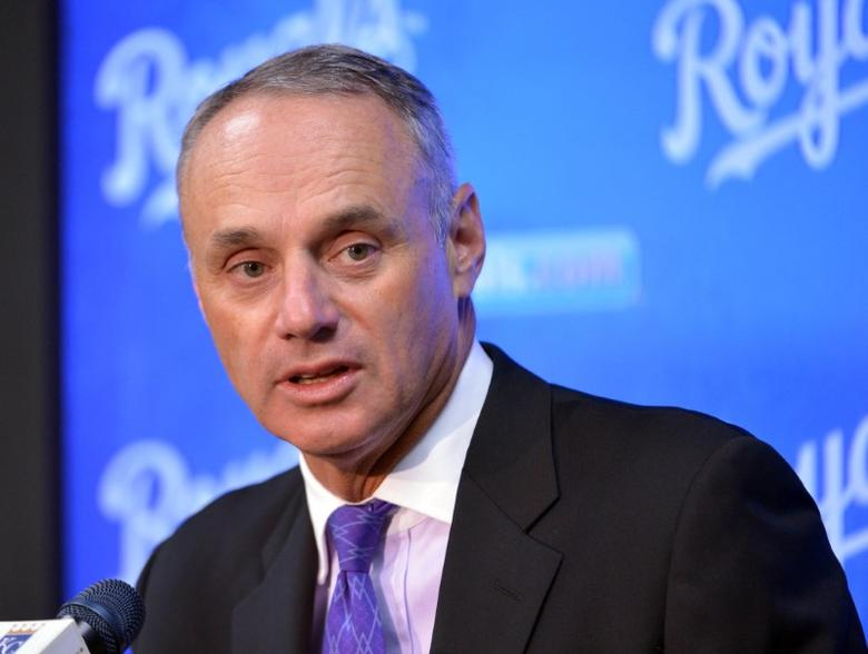 Apr 5, 2016; Kansas City, MO, USA; Major League Baseball commissioner Rob Manfred speaks to media before the game between the Kansas City Royals and New York Mets at Kauffman Stadium. Denny Medley-USA TODAY Sports