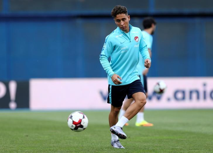 Football Soccer - Turkey national soccer team training - World Cup 2018 qualifiers - Maksimir Stadium - Zagreb, Croatia - 4/9/16. Turkey's player Emre Mor takes part in a training session. REUTERS/Antonio Bronic/Files