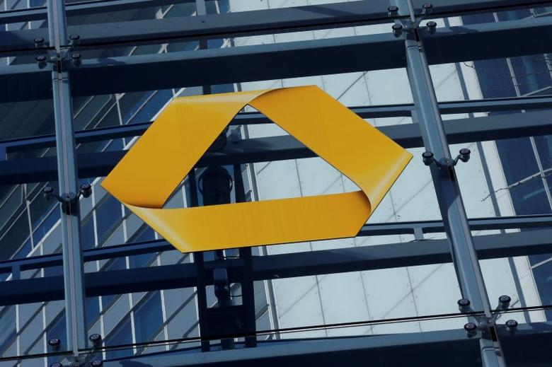A Commerzbank logo is pictured after the bank's annual news conference in Frankfurt, Germany, February 12, 2016.       REUTERS/Ralph Orlowski/File Photo