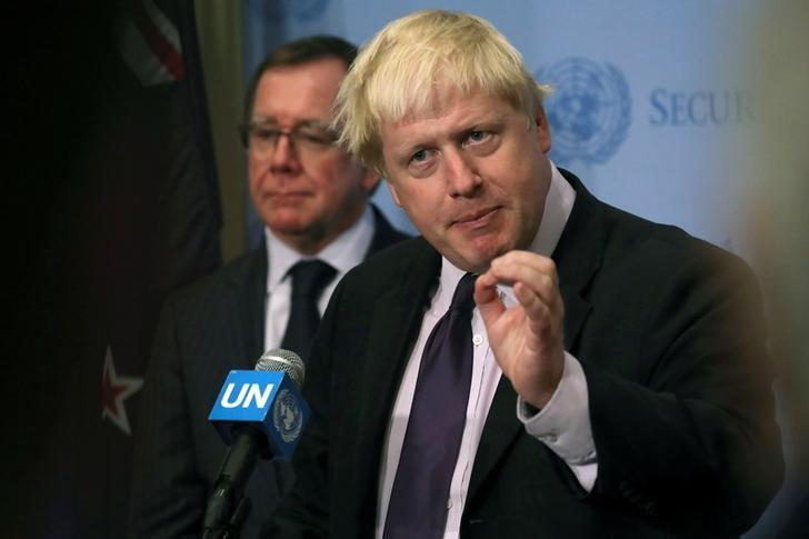 New Zealand's permanent representative to United Nations Gerard van Bohemen and Britain's Foreign Secretary Boris Johnson participate in a press briefing after the U.N. Security Council voted on a resolution on ''Threats to international peace and security caused by terrorist acts'' during the 71st Session of the U.N. General Assembly in the Manhattan, New York, U.S., September 22, 2016. REUTERS/Andrew Kelly