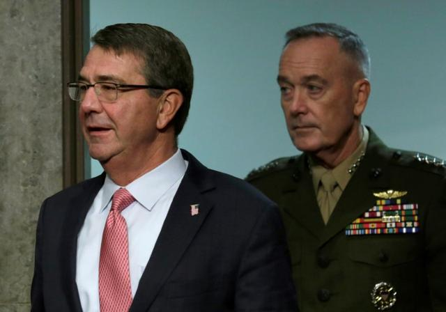 U.S. Defense Secretary Ash Carter (L) and Chairman of the Joint Chiefs of Staff Joseph Dunford (R) arrive to testify before a Senate Armed Services Committee hearing on National Security Challenges and Ongoing Military Operations on Capitol Hill in Washington, U.S., September 22, 2016. REUTERS/Yuri Gripas