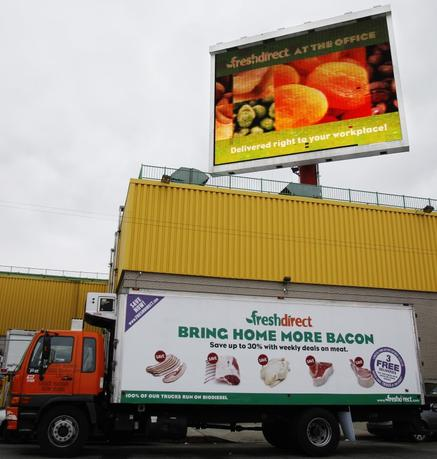 A FreshDirect delivery truck is seen outside one of their warehouses in  New York, April 9, 2010. REUTERS/Shannon Stapleton