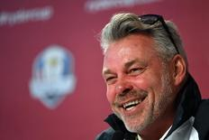 Sep 27, 2016; Chaska, MN, USA; Europe team captain Darren Clarke addresses the media during the captains press conference ahead of the 41st Ryder Cup at Hazeltine National Golf Club.  John David Mercer-USA TODAY Sports