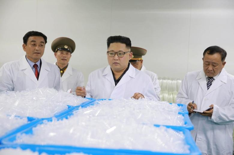 North Korean leader Kim Jong Un gives field guidance during a visit to the Taedonggang Syringe Factory in this undated photo released by North Korea