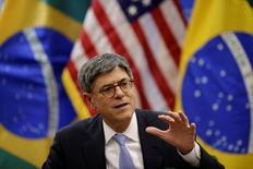 Secretário do Tesouro dos EUA, Jack Lew, durante entrevista em Brasília  27/9/, 2016 REUTERS/Ueslei Marcelino