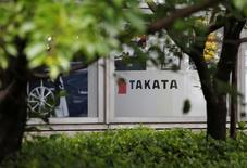 The logo of Takata Corp is seen on its display at a showroom for vehicles in Tokyo, Japan, May 11, 2016. REUTERS/Toru Hanai