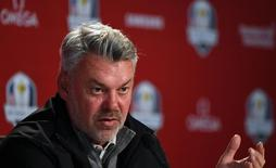 Sep 28, 2016; Chaska, MN, USA;  Europe team captain Darren Clarke addresses the media following their practice round for the 41st Ryder Cup at Hazeltine National Golf Club.   John David Mercer-USA TODAY Sports