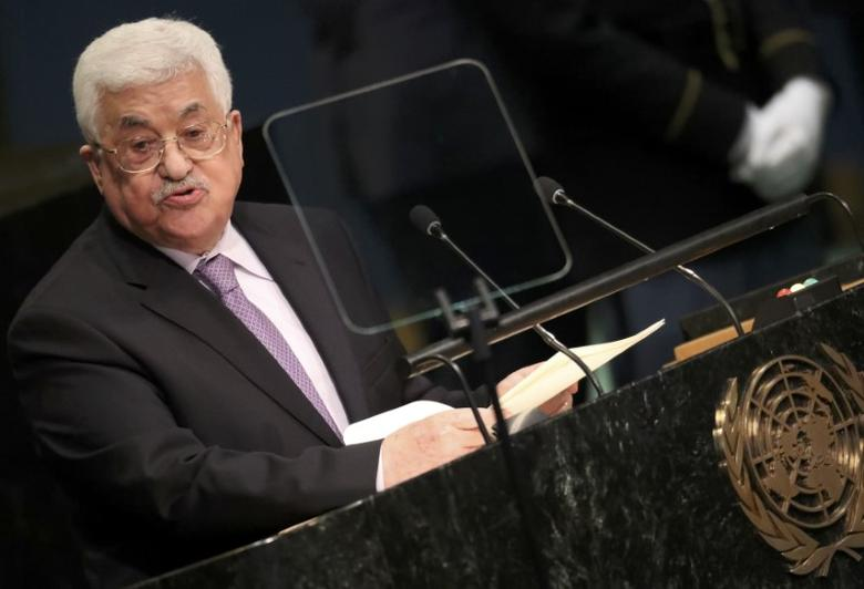 President Mahmoud Abbas of Palestine addresses the 71st United Nations General Assembly in Manhattan, New York, U.S. September 22, 2016. REUTERS/Carlo Allegri