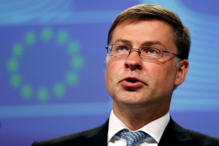 European Commission Vice-President Valdis Dombrovskis addresses a news conference at the EU Commission headquarters in Brussels, Belgium, July 27, 2016. REUTERS/Francois Lenoir/Files