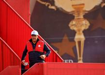 Phil Mickelson of the United States on the driving range during a practice round for the 41st Ryder Cup at Hazeltine National Golf Club. Mandatory Credit: John David Mercer-USA TODAY Sports