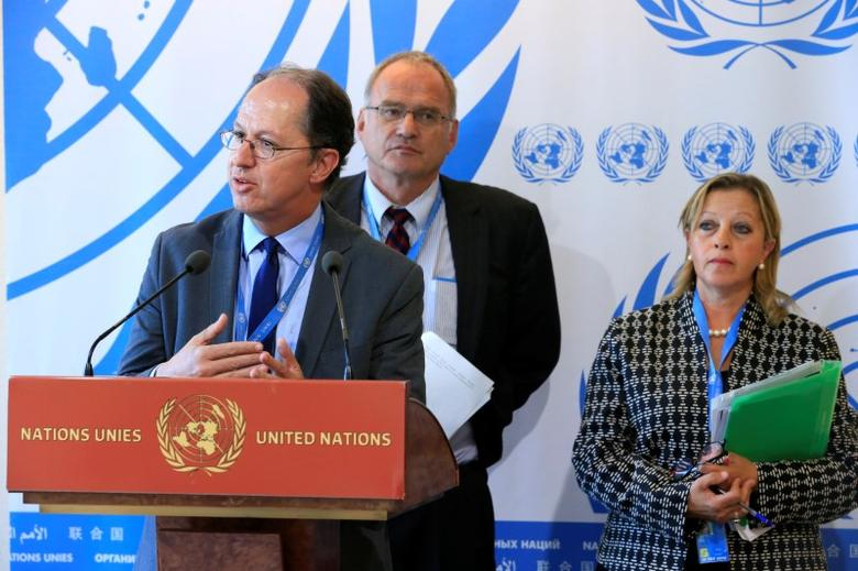United Nations Independent Investigation on Burundi (UNIIB) independent experts (L-R) Pablo de Greiff, Christof Heyns and Maya Sahli-Fadel talk to the media during the presentation of a final report by the UNIIB to the Human Rights Council at the United Nations in Geneva, Switzerland, September 27, 2016. REUTERS/Pierre Albouy