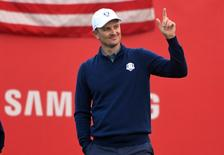 Sep 30, 2016; Chaska, MN, USA;  Justin Rose of England reacts on the first tee in the morning foursome matches during the 41st Ryder Cup at Hazeltine National Golf Club. Mandatory Credit: Michael Madrid-USA TODAY Sports