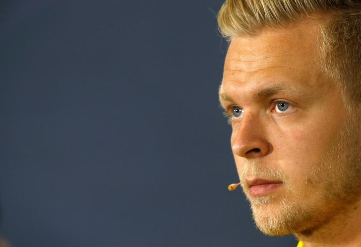 Formula One - Spanish Grand Prix - Barcelona-Catalunya racetrack, Montmelo, Spain - 12/5/16 Renault's F1 driver Kevin Magnussen gestures during a news conference ahead of the Spanish Grand Prix. REUTERS/Albert Gea/files