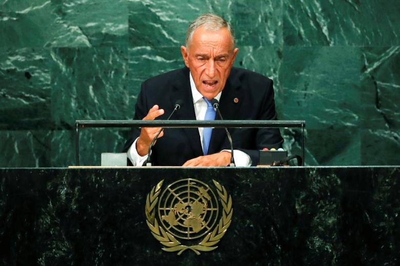Portugal's President Marcelo Rebelo de Sousa addresses the United Nations General Assembly in the Manhattan borough of New York, U.S. September 20, 2016.   REUTERS/Eduardo Munoz