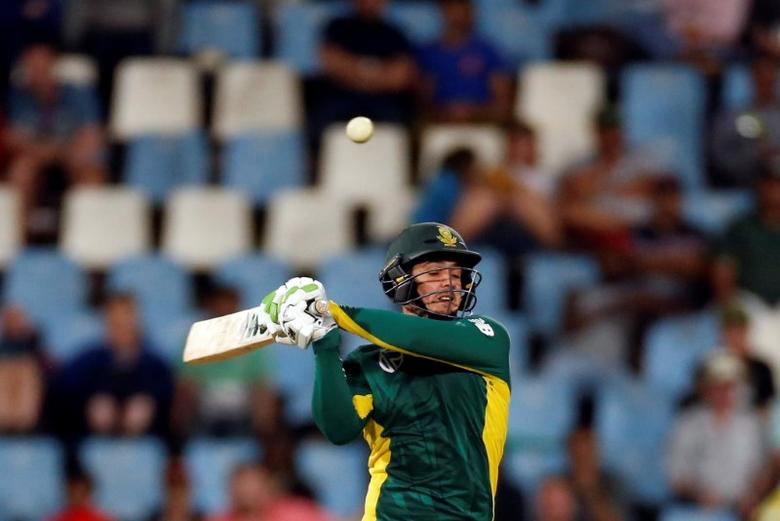 Cricket - Australia v South Africa - first ODI cricket match - Centurion Park, Centurion, South Africa - 30/9/2016. South Africa's Quinton de Kock misses a delivery. REUTERS/Siphiwe Sibeko - RTSQ95B