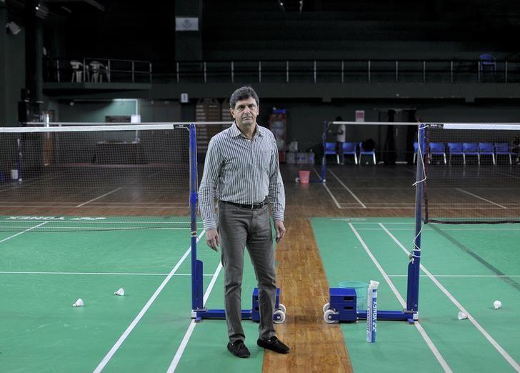 Prakash Padukone poses for a photo after an interview with Reuters inside Tata Prakash Padukone Badminton Academy in Bengaluru, September 23, 2016. REUTERS/Abhishek N. Chinnappa
