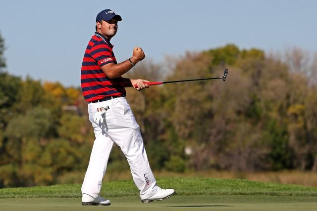 Oct 1, 2016; Chaska, MN, USA;  Patrick Reed of the United States reacts to a putt on the seventh green during the morning foursome matches in the 41st Ryder Cup at Hazeltine National Golf Club. Mandatory Credit: Rob Schumacher-USA TODAY Sports  / Reuters