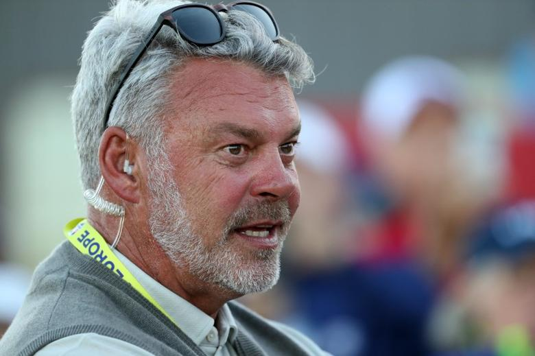 Oct 1, 2016; Chaska, MN, USA; Team Europe captain Darren Clarke on the 18th green during the afternoon four-ball matches in the 41st Ryder Cup at Hazeltine National Golf Club. Mandatory Credit: Rob Schumacher-USA TODAY Sports