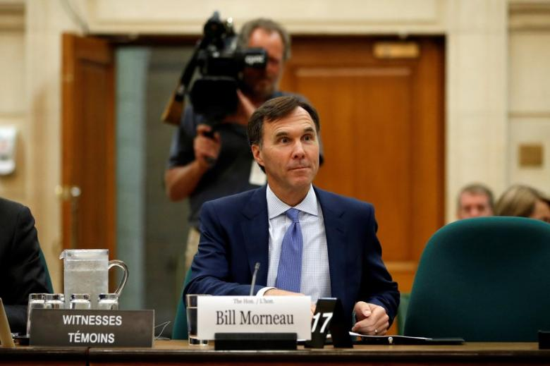 Canada's Finance Minister Bill Morneau prepares to testify before the House of Commons finance committee on Parliament Hill in Ottawa, Ontario, Canada, September 19, 2016. REUTERS/Chris Wattie