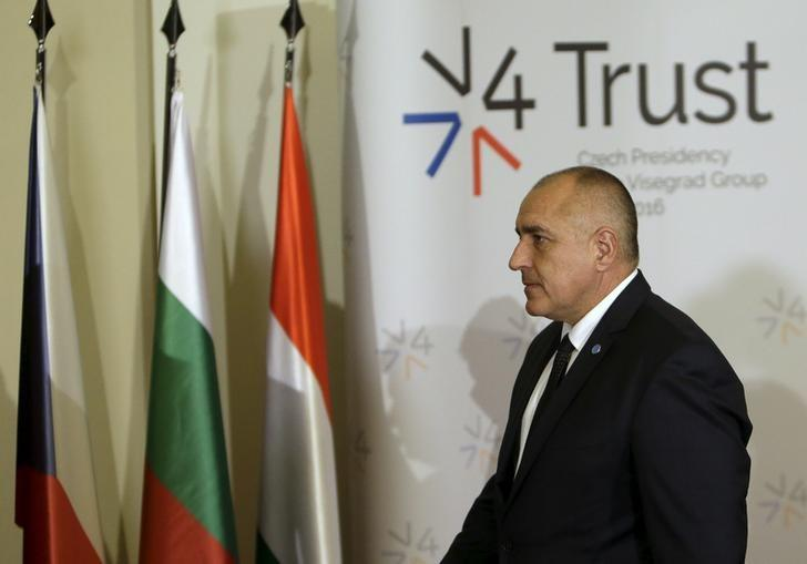 Bulgaria's Prime Minister Boiko Borisov arrives for a group photo during an extraordinary Visegrad Group summit aimed at resolving the migration crisis, in Prague, Czech Republic, February 15, 2016. REUTERS/David W Cerny