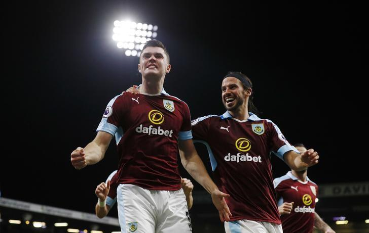 Britain Football Soccer - Burnley v Watford - Premier League - Turf Moor - 26/9/16Burnley's Michael Keane celebrates scoring their second goal with George BoydAction Images via Reuters / Jason CairnduffLivepic