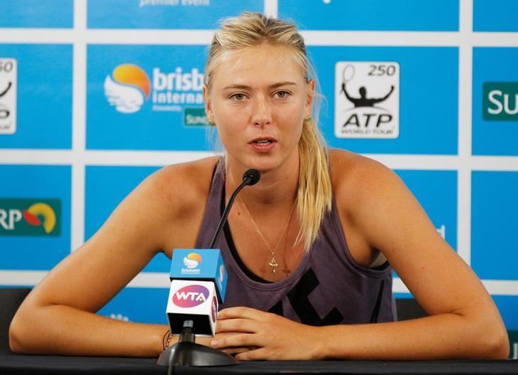 Maria Sharapova of Russia speaks during a news conference at the Brisbane International tennis tournament in Brisbane, Australia January 1, 2013. REUTERS/Daniel Munoz/Files