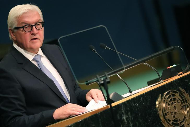 German Foreign Minister Frank-Walter Steinmeier addresses the 71st United Nations General Assembly in the Manhattan borough of New York, U.S., September 23, 2016.  REUTERS/Carlo Allegri