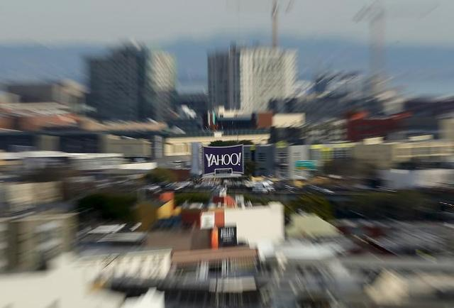 A sign advertising internet company Yahoo is pictured in downtown San Francisco, California February 4, 2016.  REUTERS/Mike Blake