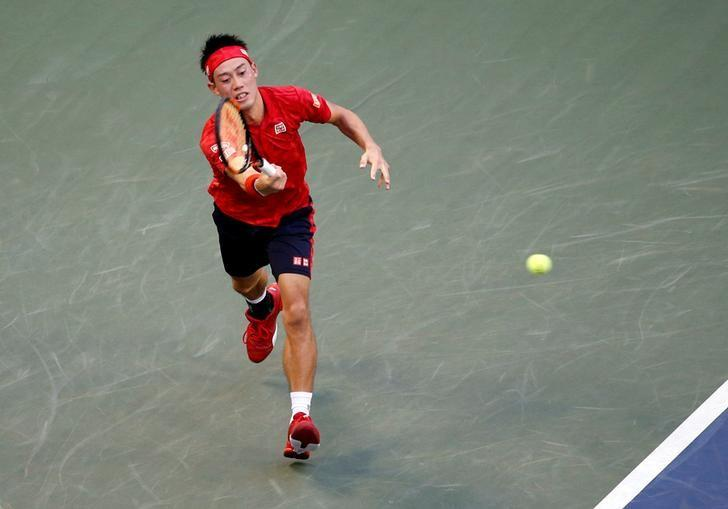 Tennis - Japan Open Men's Singles First Round match - Ariake Coliseum, Tokyo, Japan - 05/10/16. Kei Nishikori of Japan returns a ball during his match against Joao Sousa of Portugal. REUTERS/Kim Kyung-Hoon