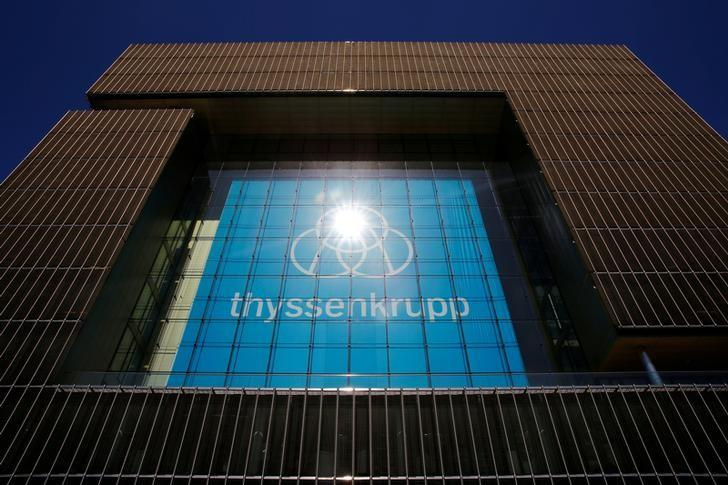 The new logo of ThyssenKrupp is seen at the headquarters of the steel maker and multinational conglomerate in Essen, Germany, April 20, 2016.    REUTERS/Wolfgang Rattay/File Photo