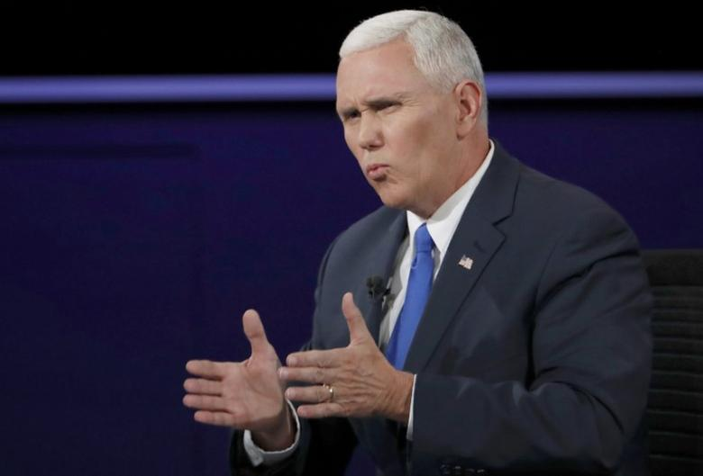 Republican U.S. vice presidential nominee Governor Mike Pence speaks during his debate against Democratic U.S. vice presidential nominee Senator Tim Kaine (not shown) at Longwood University in Farmville, Virginia, U.S., October 4, 2016. REUTERS/Kevin Lamarque