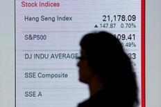 Женщина идет мимо диспеля с данными о фондовых индексах Гонконга. Фондовые индексы Гонконга продемонстрировали солидный рост по итогам торгов четверга на фоне скупки китайских акций, так как некоторые инвесторы выстраивали позиции перед возобновлением работы биржи Китая на следующей неделе. REUTERS/Bobby Yip/File Photo