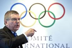 International Olympic Committee President Thomas Bach gestures during an interview with Reuters at the IOC headquarters in Lausanne, Switzerland, September 16, 2015.  REUTERS/Denis Balibouse