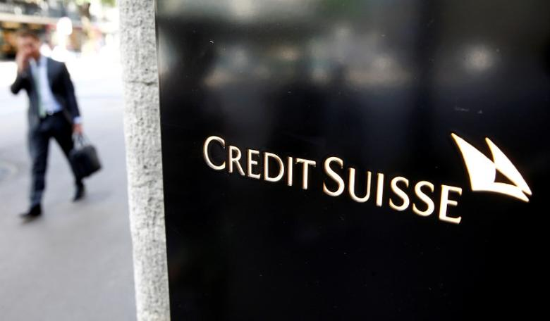 The logo of Swiss bank Credit Suisse is seen at a branch office in Zurich, Switzerland July 28, 2016.   REUTERS/Arnd Wiegmann/File Photo