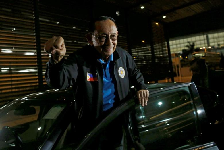 Former Philippine President Fidel Ramos reacts as he arrives at Hong Kong International Airport, China August 8, 2016. REUTERS/Tyrone Siu/File Photo