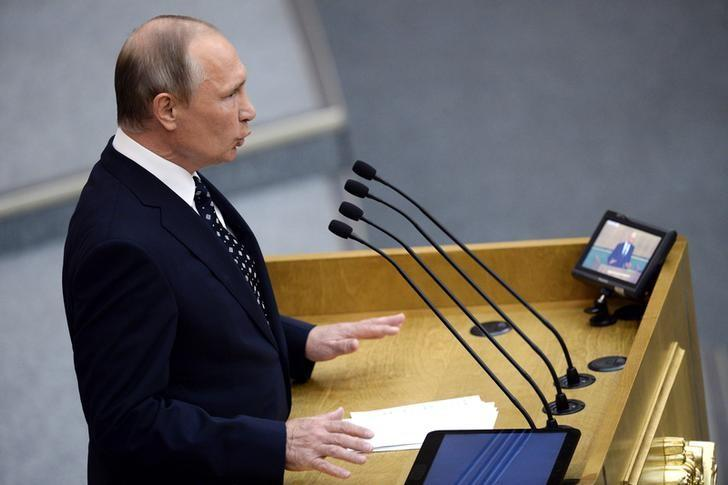 Russian President Vladimir Putin delivers a speech during the opening session of the newly-elected State Duma, the lower house of parliament, in Moscow, Russia, October 5, 2016. REUTERS/Natalia Kolesnikova/Pool