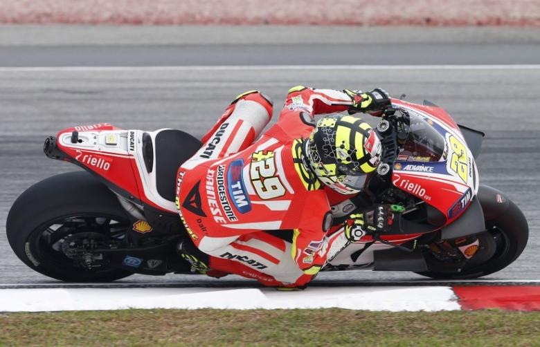 Ducati MotoGP rider Andrea Iannone of Italy rides during the first free practice session of the Malaysian Motorcycle Grand Prix at Sepang International Circuit near Kuala Lumpur, Malaysia, October 23, 2015. REUTERS/Olivia Harris/Files