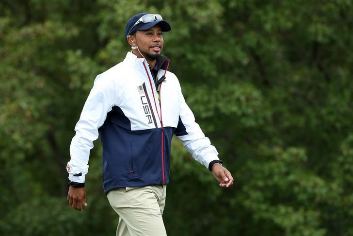 Sep 28, 2016; Chaska, MN, USA; Team USA vice-captain Tiger Woods walks the 10th green during the practice round for the Ryder Cup at Hazeltine National Golf Club. Mandatory Credit: Rob Schumacher-USA TODAY Sports