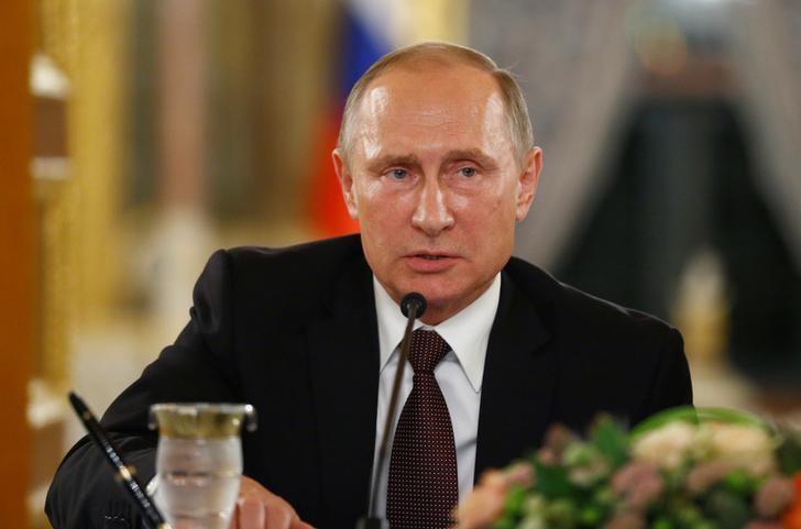 图为俄罗斯总统普京。普京周一表示俄方准备好加入石油限产。REUTERS/Osman Orsal