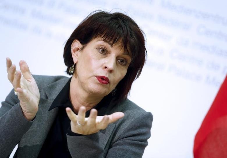 Doris Leuthard speaks to media during a news conference in Bern, Switzerland February 28, 2016.  REUTERS/Ruben Sprich