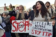 Thousands of people demonstrate against the Transatlantic Trade and Investment Partnership (TTIP) and the EU-Canada Comprehensive Economic and Trade Agreement (CETA) in the centre of Brussels, Belgium September 20, 2016. Reuters/Eric Vidal