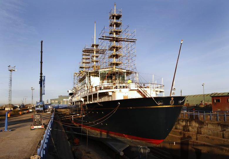 The Royal Yacht Britannia is seen as it sits in a dry dock at Forth Ports in Edinburgh, Scotland January 13, 2012. REUTERS/David Moir
