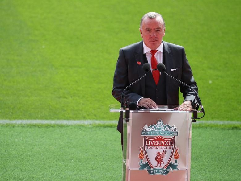Britain Football Soccer - Liverpool - Official opening of redeveloped main stand at Anfield - Anfield - 9/9/16Liverpool Chief Executive Ian Ayre speaks during the opening of the newly built stand at Liverpool football club's Anfield StadiumReuters / Phil Noble