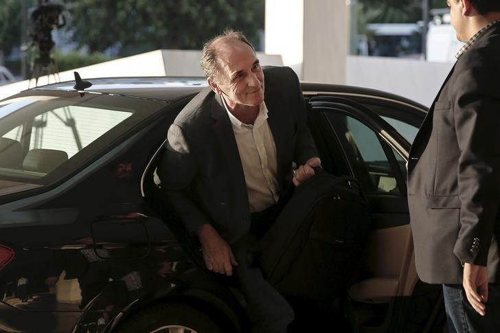 Greek Economy Minister George Stathakis arrives for a meeting with representatives of the International Monetary Fund, the European Commission, the European Central Bank and the eurozone's rescue fund, the European Stability Mechanism, at a hotel in Athens August 10, 2015.   REUTERS/Alkis Konstantinidis