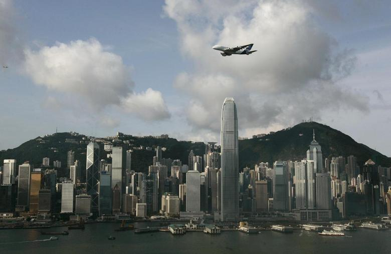 24: Hong Kong's Two International Financial Center. Height: 1,352 feet. An Airbus A380 flies over Hong Kong's Victoria Harbour in Hong KongREUTERS/Stringer