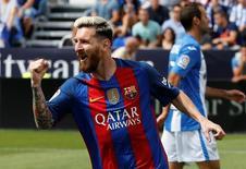 Football Soccer - Spanish Liga Santander - Leganes v Barcelona - Butarque stadium, Leganes, Spain 17/09/16 Barcelona's Lionel Messi cerebrates goal. REUTERS/Sergio Perez